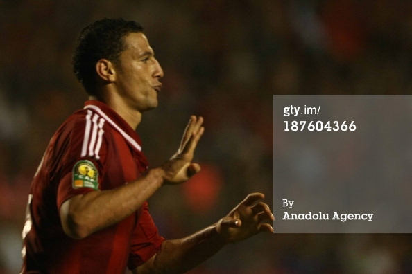 Al Ahly striker Ahmed Abdel-Zaher flashes Rabaa salute