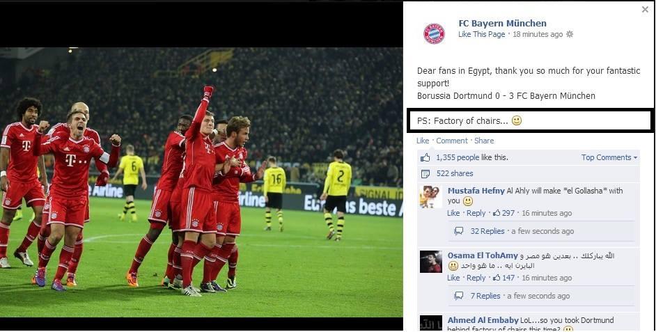Factory of the chairs - Bayern Munich vs Dortmund - Al Ahly - Egypt