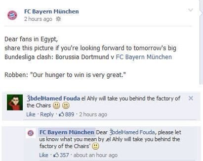 Al Ahly fans vs Bayern Munich Facebook page - Factory of the chairs