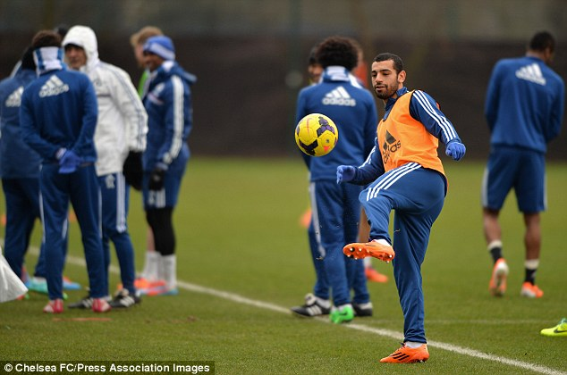 Mohamed Salah trains with Chelsea