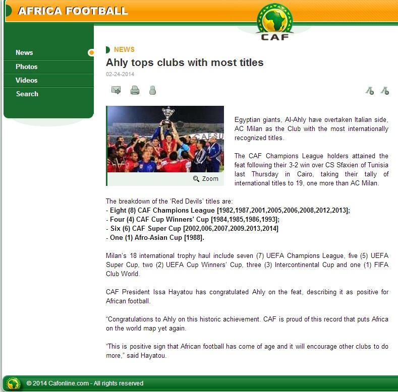 CAF Achnowledge Al Ahly