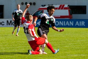 Omar in action against FC Santos Tartu in the Estonian Cup final (Gertrud Alatare Photography)