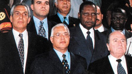 Ex-Egypt FA chief El-Dahshoury Harb (left)