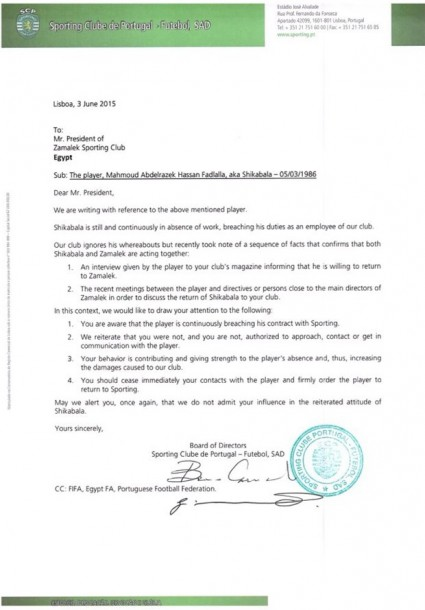 Sporting Shikabala Letter