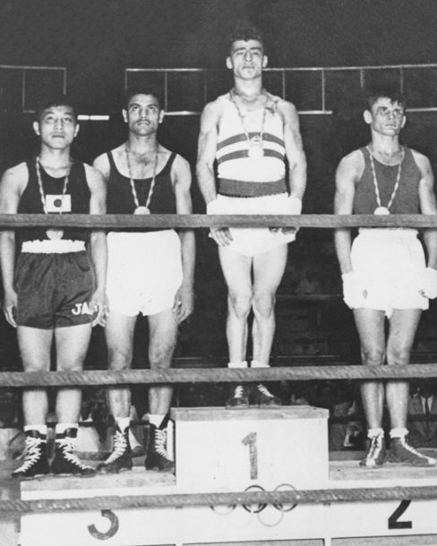 Egypt's El Guindi (second left) after winning Bronze medal in Boxing in 1960