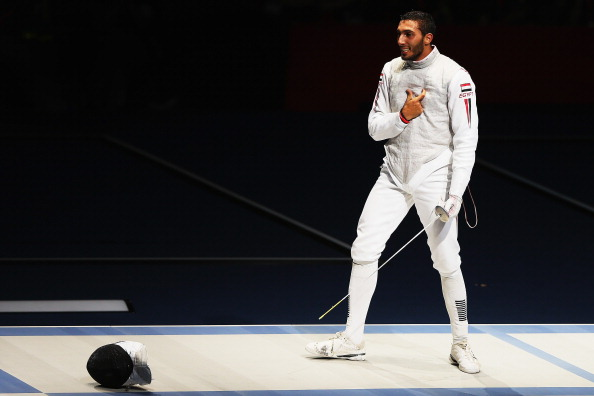 LONDON, ENGLAND - JULY 31: Alaaeldin Abouelkassem of Egypt celebrates after winning the Men's Foil Individual Semifinal against Byungchul Choi of Korea on Day 4 of the London 2012 Olympic Games at ExCeL on July 31, 2012 in London, England. (Photo by Hannah Peters/Getty Images)