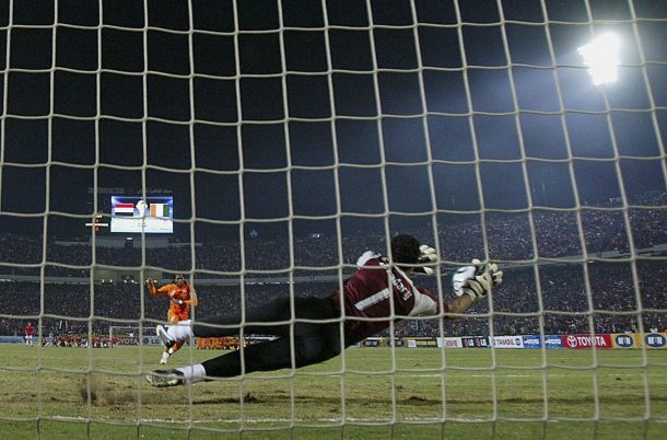 CAIRO, EGYPT - FEBRUARY 10: Essam El Hadary of Egypt saves the penalty of Didier Drogba of Ivory Coast during penalties during The African Cup of Nations Final between Egypt and the Ivory Coast at The Cairo International Stadium on February 10, 2006 in Cairo, Egypt. (Photo by Ben Radford/Getty Images)
