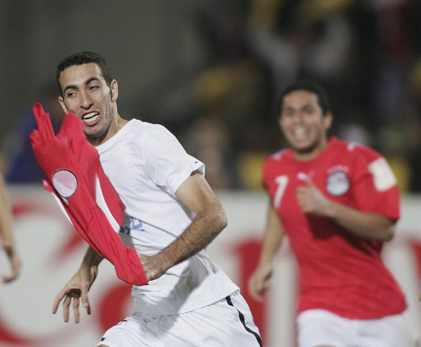CAIRO, EGYPT - FEBRUARY 10: Abou Mohamed Mohamed of Egypt celebrates scoring the winning penalty in their win over Ivory Coast during The African Cup of Nations Final between Egypt and Ivory Coast at The Cairo International Stadium on February 10, 2006 in Cairo, Egypt. (Photo by Ben Radford/Getty Images)