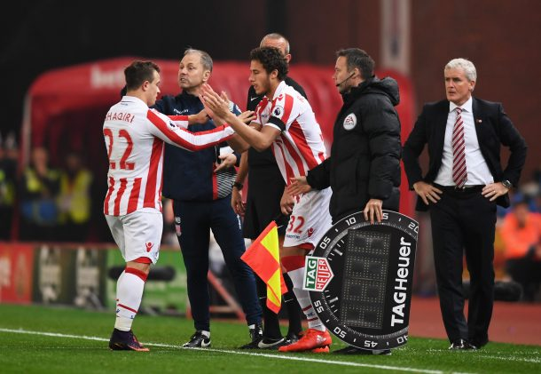 Ramadan Sobhi features in Stoke City's defeat to Liverpool