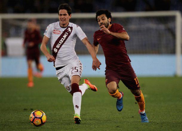 Mohamed Salah scores in Roma's 4-1 win against Torino