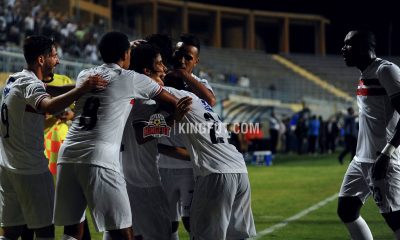 Zamalek players celebrate as they defeat Dakhleya 3-0