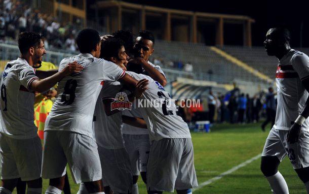 Zamalek players celebrate as they defeat Dakhleya 3-0