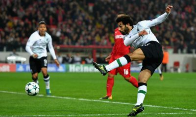 Mohamed Salah of Liverpool shoots during the UEFA match between Spartak Moskva and Liverpool FC