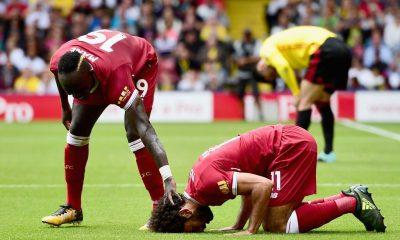 Salah celebrates scoring third goal with Sadio Mane against Watford