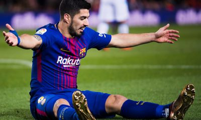 BARCELONA, SPAIN - DECEMBER 17: Luis Suarez of FC Barcelona reacts during the La Liga match between FC Barcelona and Deportivo La Coruna at Camp Nou on December 17, 2017 in Barcelona, Spain.